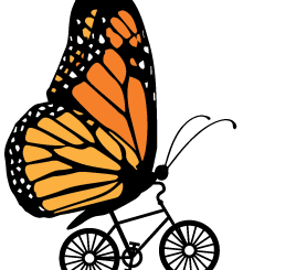 Butterfly riding a bicycle