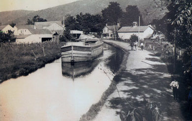 historical photo of a canal boat