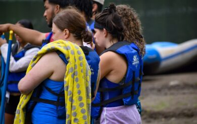 rafters listening to safety instructions