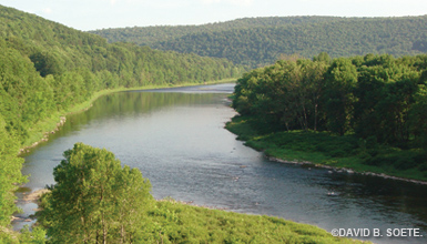 Delaware River valley in the summer