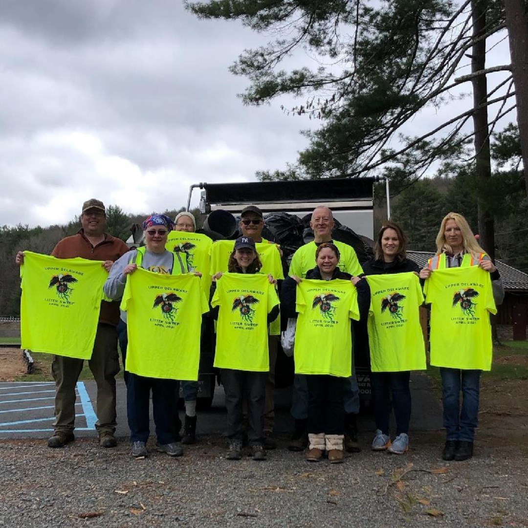 Litter sweep t-shirts displayed