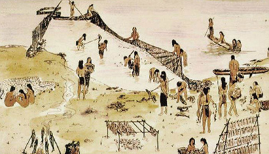 drawing of a Leni Lenape fishing village