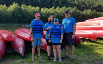 family of four on the Delaware River