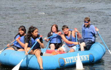 family of five rafting