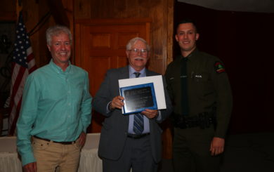 Kevin Reish with Chairperson Roeder and UDC 2019 Robin M. Daniels Memorial Lifesaving Award winner Forest Ranger Richard Franke, Jr.