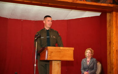 orest Ranger Richard Franke, Jr. at podium