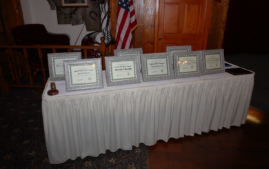 table with awards plaques