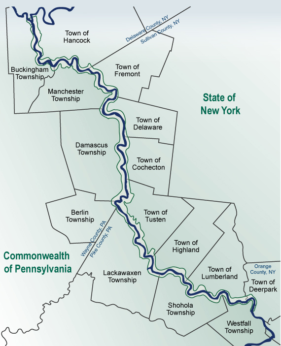 Map of the Delaware River showing Towns on both sides of the river