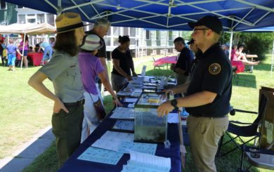 national park service rangers and educational booth