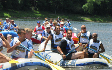 New York State Governor Andrew Cuomo in raft