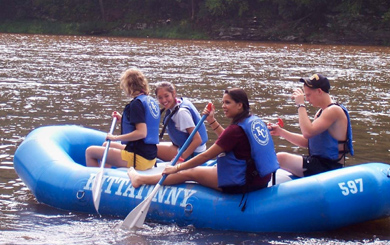 family on rafting trip